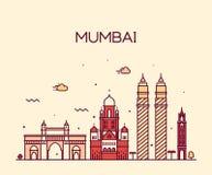 Van de de horizon vectorillustratie van de Mumbaistad de lijnart. Royalty-vrije Stock Afbeelding