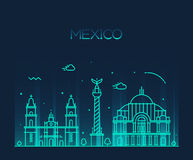Van de de horizon In vectorlijn van Mexico-City de kunststijl Royalty-vrije Stock Afbeeldingen