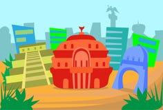 Van de de Horizonstad van Mexico Abstract de Wolkenkrabbersilhouet vector illustratie