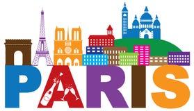 Van de de Horizontekst van Parijs de vectorillustratie van Champagne Color Stock Foto's