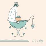 Van de de jongensaankomst van de baby de aankondigings retro kaart Royalty-vrije Stock Afbeeldingen