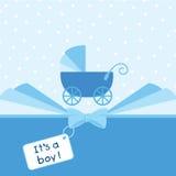 Van de de jongensaankomst van de baby de aankondigingskaart Royalty-vrije Stock Afbeelding