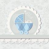 Van de de jongensaankomst van de baby de aankondigingskaart Stock Fotografie