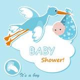 Van de de jongensaankomst van de baby de aankondigingskaart Stock Afbeeldingen