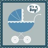Van de de jongensaankomst van de baby de aankondigingskaart Vector illustratie Stock Fotografie