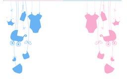 Van de de jongensbaby van de baby de pasgeboren hangende baby illustratie van het meisjessymbolen Royalty-vrije Stock Afbeelding