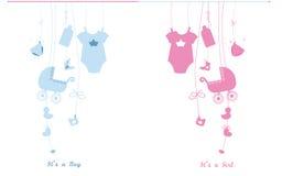 Van de de jongensbaby van de baby de pasgeboren hangende baby illustratie van het meisjessymbolen Zijn een jongen Zijn een meisje Royalty-vrije Stock Foto