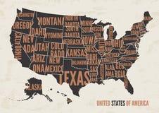 Van de de kaartdruk van de Verenigde Staten van Amerika de affiche uitstekend ontwerp Royalty-vrije Stock Fotografie