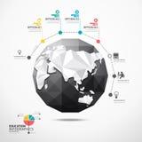 Van de de kaartillustratie van de bolwereld infographics geometrisch concept. royalty-vrije illustratie