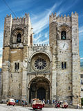 Van de de Kathedraalkerk van Lissabon Se Santa Maria Maior de Lisboa, Portug Stock Foto