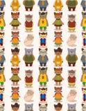 Van de de kattenfamilie van het beeldverhaal het naadloze patroon Stock Afbeelding