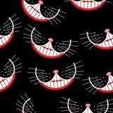 Van de de kattenglimlach van Cheshire het naadloze patroon Het kan voor prestaties van het ontwerpwerk noodzakelijk zijn vector illustratie