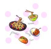 van de de kerrietaco van de deegwarennoedel het voedselillustratie   Royalty-vrije Stock Afbeeldingen