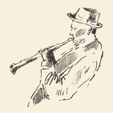 Van de de Klarinetmuziek van de jazzaffiche het akoestische concept Stock Afbeeldingen