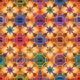 Van de de kleuren het uitstekende symmetrie van de bloemstijl naadloze patroon royalty-vrije illustratie