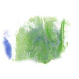 Van de de kleuren ploetert de blauwgroene inkt van de verfplons blauwe rode waterverf geïsoleerde slag watercolour aquarel borste Stock Afbeeldingen