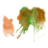Van de de kleuren ploetert de bruine groene inkt van de verfplons blauwe rode waterverf geïsoleerde slag watercolour aquarel bors Royalty-vrije Stock Afbeelding