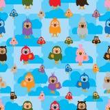 Van de de kleurensymmetrie van de beeldverhaalvogel de wolken naadloos patroon Stock Fotografie