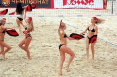 2015 van de de Klierslag van Moskou van het de Toernooienstrand de Groep van de het Volleyballsteun Stock Foto's