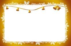 Van de de klokkenkaart van Kerstmis de de gouden sterren en bloemen Stock Afbeelding