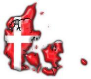 Van de de knoopvlag van Denemarken de kaartvorm Royalty-vrije Stock Afbeelding