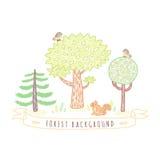 Van de de krabbelstijl van jonge geitjestekeningen de bosachtergrond met bomen, vogels, lint en eekhoorn Stock Fotografie