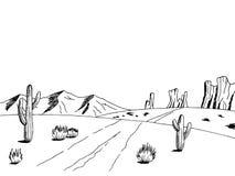 Van de de kunst Amerikaanse woestijn van de prairieweg de grafische illustratie van de het landschapsschets zwarte witte vector illustratie