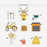 Van de de landbouw het oogsten en landbouw decoratieve geplaatste pictogrammen Vector illustratie Royalty-vrije Stock Foto's