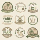 Van de de landbouw het oogsten en landbouw etiketten Stock Foto