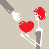 Van de de liefde de emotionele uitwisseling van het hart Romaanse valentijnskaart Stock Foto