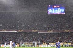 Van de de Ligahalve finale van UEFA Europa het spel Dnipro versus Napoli Stock Foto's