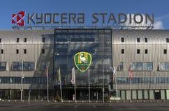 Van de de ligavoetbal van het Kyocerastadion eerste de clubdrukte Den Haag. Royalty-vrije Stock Afbeelding