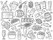 Van de de lijnkunst van bierelementen de stijlvector vector illustratie