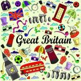 Van de de lijnkunst van Groot-Brittannië het ontwerp vectorillustratie Stock Afbeeldingen