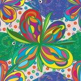 Van de de lijnmanier van bloemvissen de stoffen naadloos patroon Stock Foto