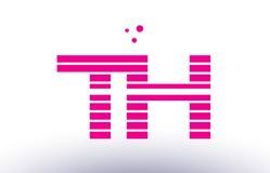 van de de lijnstreep van Th t h roze purpere van de het alfabetbrief het embleemvector templ Royalty-vrije Stock Foto's