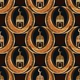 Van de de maansymmetrie van Ramadan Islam het tweeling naadloze patroon Stock Afbeeldingen