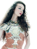 Van de de manier bruine zijde van de vrouw de zomer sleeveless kleding Stock Fotografie