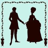 Van de de manierman en vrouw van de rococo'sstijl historische silhouetten Stock Afbeelding