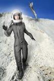Van de de maniertribune van de astronaut de helm van het de vrouwenruimtepak Royalty-vrije Stock Foto's