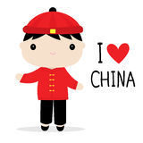 Van de de Mensen Nationale Kleding van China het Beeldverhaalvector Stock Afbeeldingen