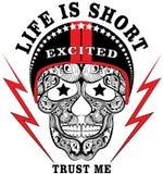 Van de de Mensenjongen van de schedelhelm de T-shirtontwerp Stock Foto's