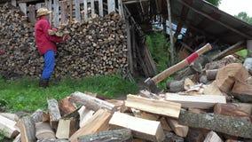 Van de de mensenkerel van de tuinarbeider het gehakte brandhout stapel dichtbij houtschuurtje 4K stock footage