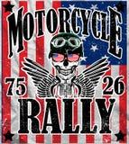 Van de de Mensent-shirt van de motorfietsschedel het Grafische Vectorontwerp Royalty-vrije Stock Foto