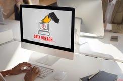 Van de de Misdaadfraude van de Cyberaanval het Concept van het de Hakkerveiligheidssysteem van Phishing Stock Foto