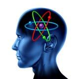 Van de de moleculewetenschap van het atoom van het symboolhersenen de wetenschappelijke mening Stock Foto's