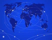 Van de de nachtreis van de illustratie de wereldkaart Stock Foto