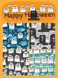 Van de de nota het leuke reeks van de spookmuziek naadloze patroon Royalty-vrije Stock Afbeelding