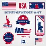 Van de de Onafhankelijkheidsdag van de V.S. elemen het vector het ontwerpmalplaatje Royalty-vrije Stock Fotografie