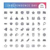Van de de Onafhankelijkheidsdag van de V.S. Geplaatste de Lijnpictogrammen Royalty-vrije Stock Afbeelding